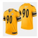 Men's Pittsburgh Steelers 90 T.J Watt inverted legend Jersey gold