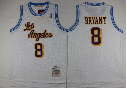Men's Los Angeles Lakers Kobe Bryant White Throwback Basketball Jersey Embroidered