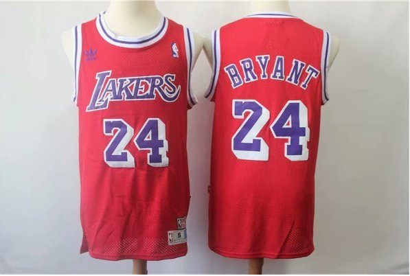 Men's Los Angeles Lakers Kobe Bryant Red Throwback Basketball Jersey Embroidered