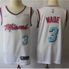 Men's Miami Heat Dwyane Wade White City Edition Basketball Jersey Embroidered