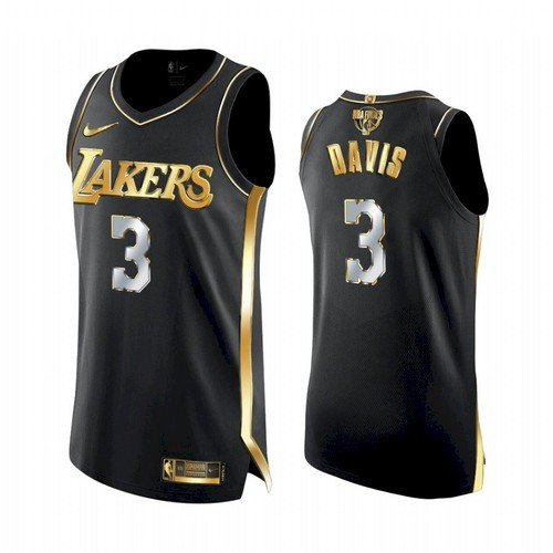Men Anthony Davis Lakers 2021 golden jersey black