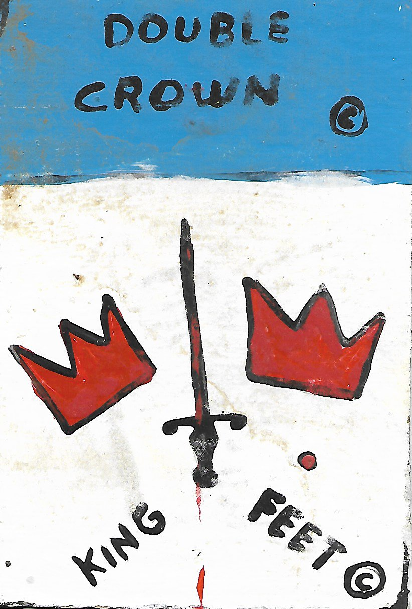 "Jean-Michele Basquiat NYC Street Art Postcard Painting ""SAMO DOUBLE CROWN"""