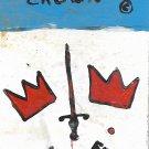 "Jean-Michele Basquiat NYC Street Art Postcard Painting ""SAMO DOUBLE CROWN"""