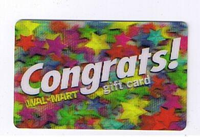Walmart Collectible Gift Card - Lenticular - Congrats! Multi-Color Stars VL1730