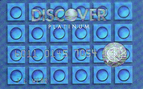 Discover Platinum Clear Blue Promotional Credit Card