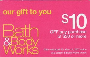 Bath & Body Works Collectible Coupon Card