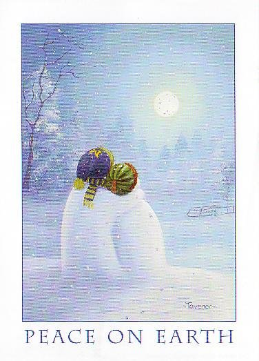 University of Michigan Christmas Card Promo Print - Moonlight Snowmen H206