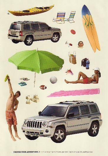 2007 Jeep Patriot Promotional Ad - Beach,Surf,Fun,Car/SUV Scrapbooking Stickers