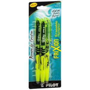 Pilot Frixion Light Erasable Highlighter #46506, 3/Pk, Yellow Ink