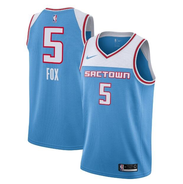 NEW Sacramento Kings #5 De'Aaron Fox Blue Basketball Jersey Size S XXL