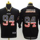 Cameron Jordan #94 New Orleans Saints Rush Limited Player Jersey Men's Black USA Flag Size M