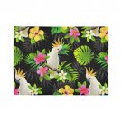 Parrots And Tropical Flowers Area Rug 7'x5'