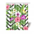 "Tropical Flowers Pattern Shower Curtain 60""x72"""
