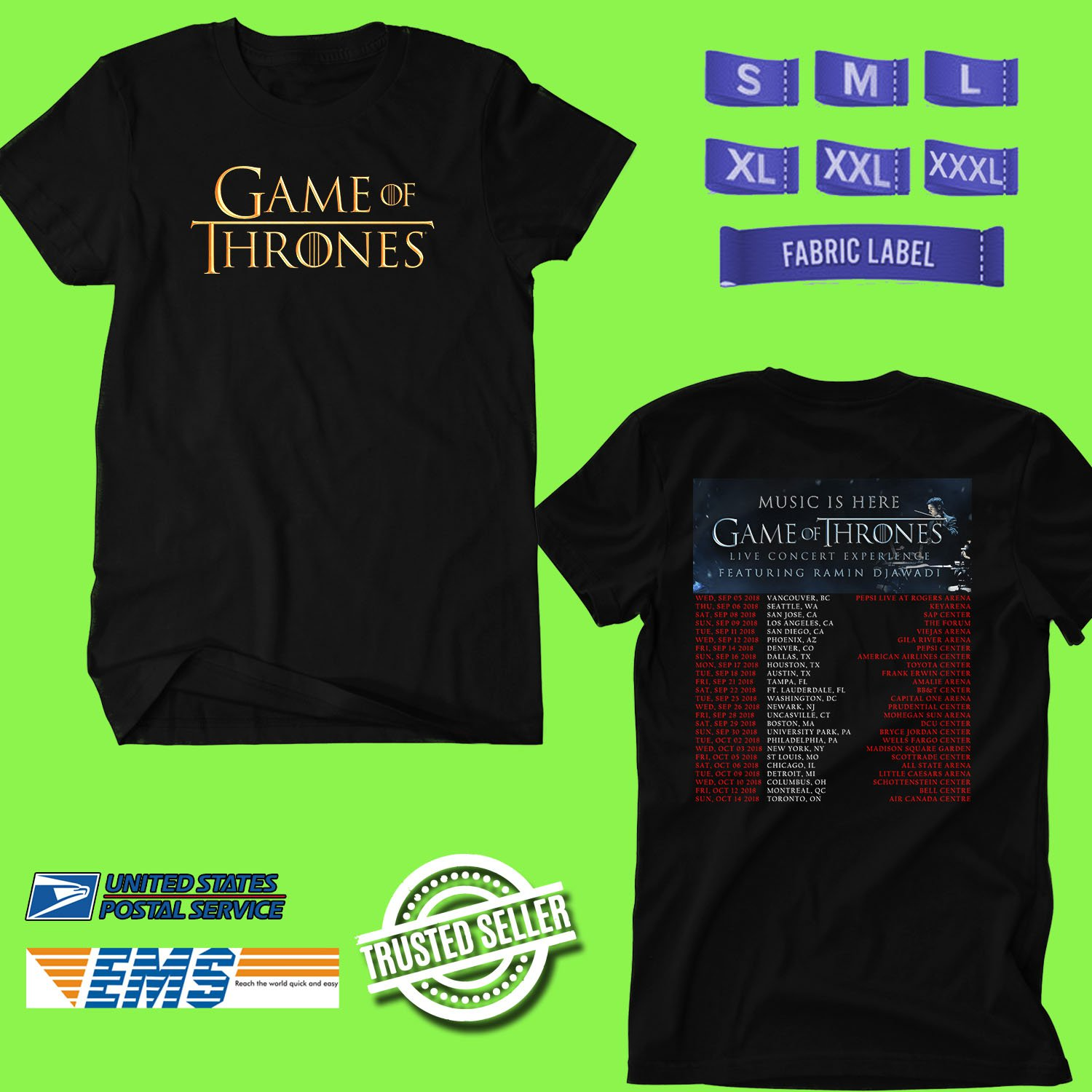CONCERT 2018 GAME OF THRONE LIVE CONCERT EXPERIENCE BLACK TEE DATES CODE EP02