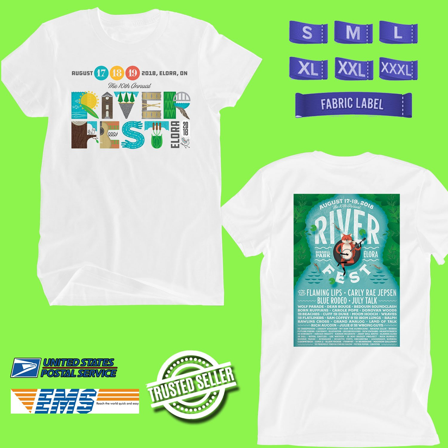 CONCERT 2018 RIVER FEST MUSIC FESTIVAL AUGUST WHITE TEE DATES CODE EP01