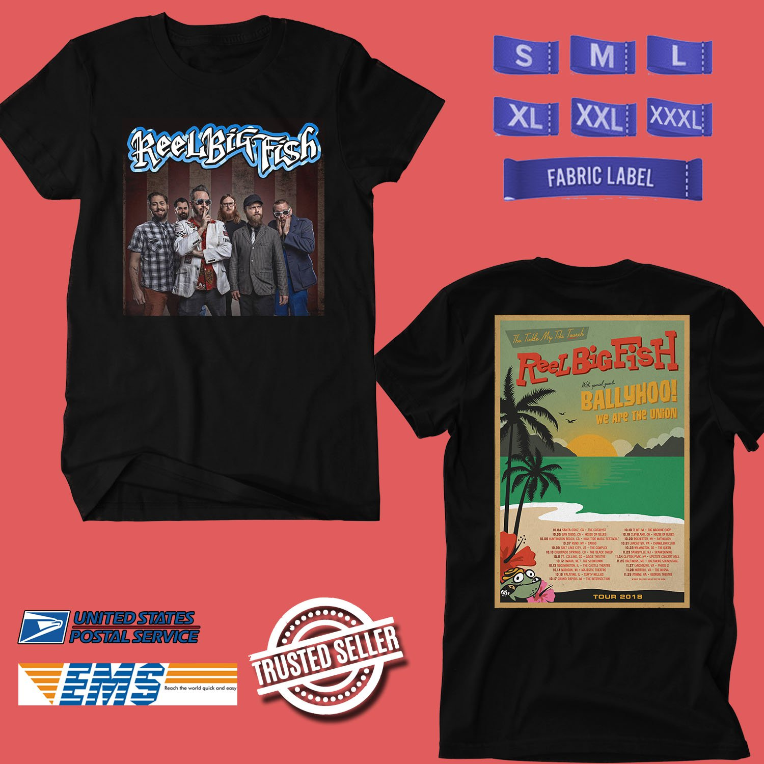 CONCERT 2018 REEL BIG FISH THE TICKLE MY TIKI TORCH TOUR BLACK TEE DATES CODE EP01