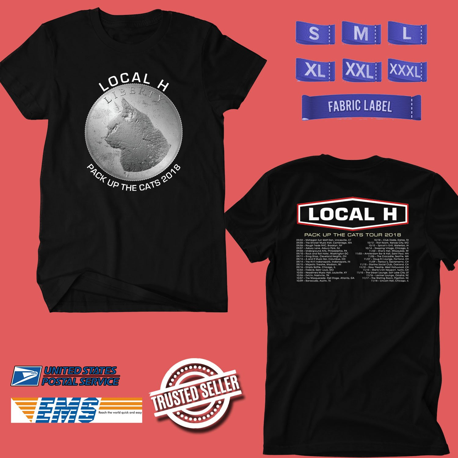 CONCERT 2018 LOCAL H PACK UP THE CATS TOUR BLACK TEE DATES CODE EP02