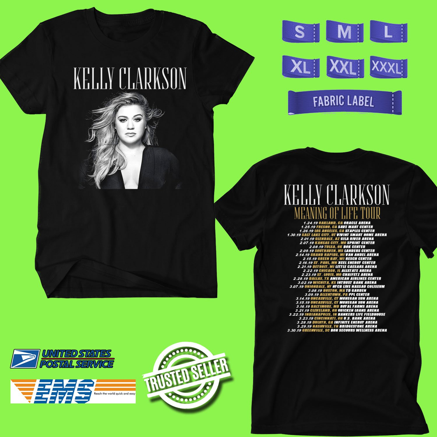 CONCERT 2019 KELLY CLARKSON MEANING OF LIFE TOUR BLACK TEE DATES CODE EP03