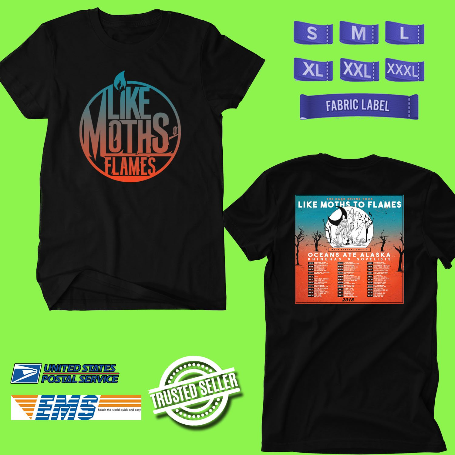 CONCERT 2018 LIKE MOTHS TO FLAMES THE DARK DIVINE TOUR BLACK TEE DATES CODE EP01