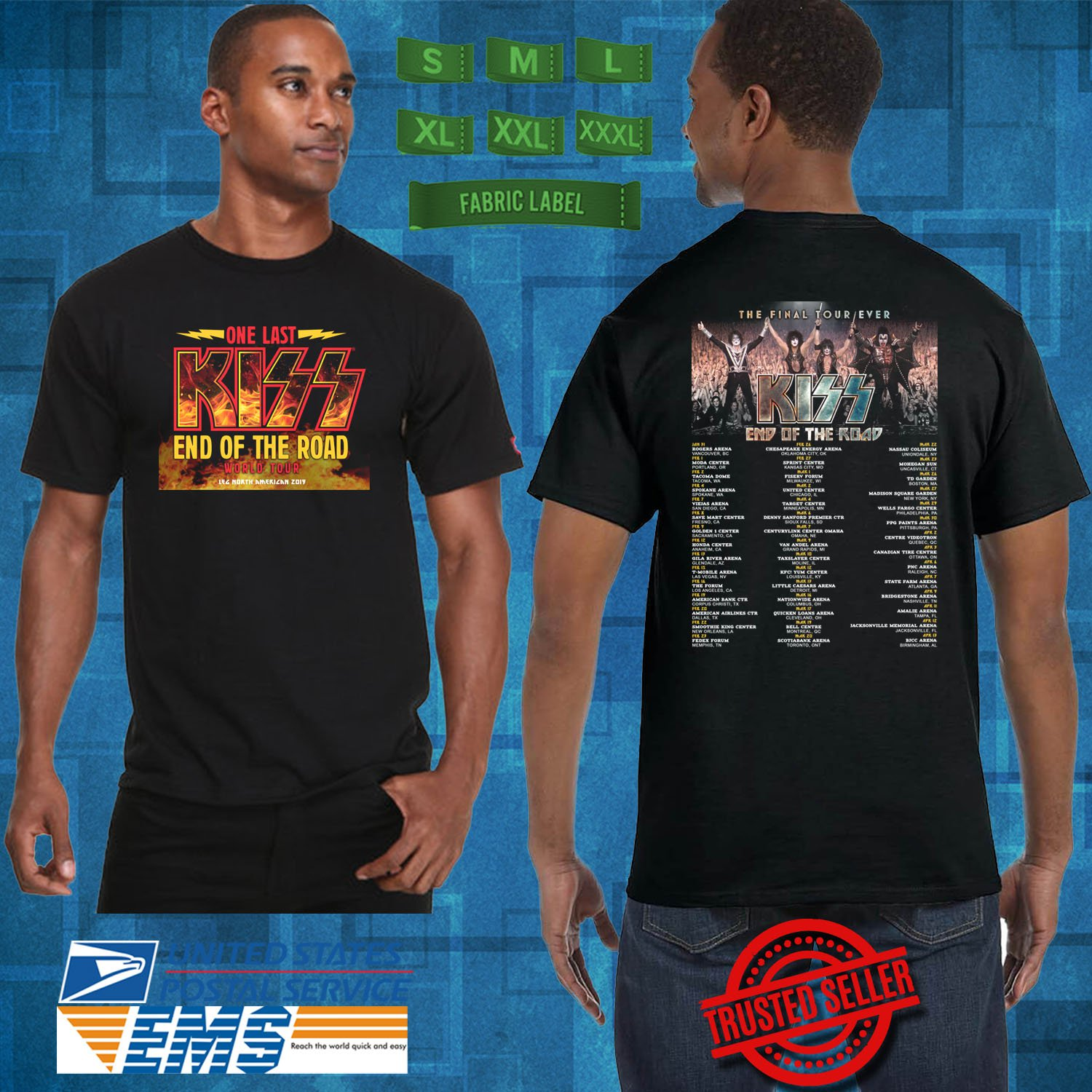 CONCERT 2019 KISS END OF THE ROAD FINAL TOUR BLACK TEE DATES CODE EP01