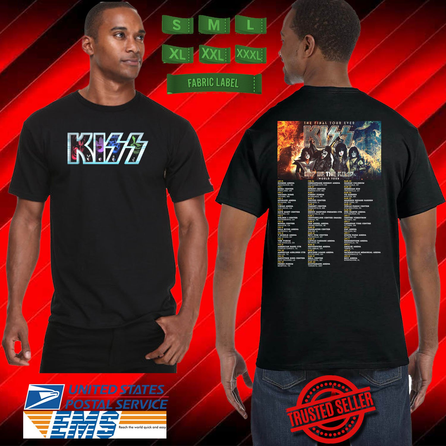 CONCERT 2019 KISS END OF THE ROAD FINAL TOUR BLACK TEE DATES CODE EP02