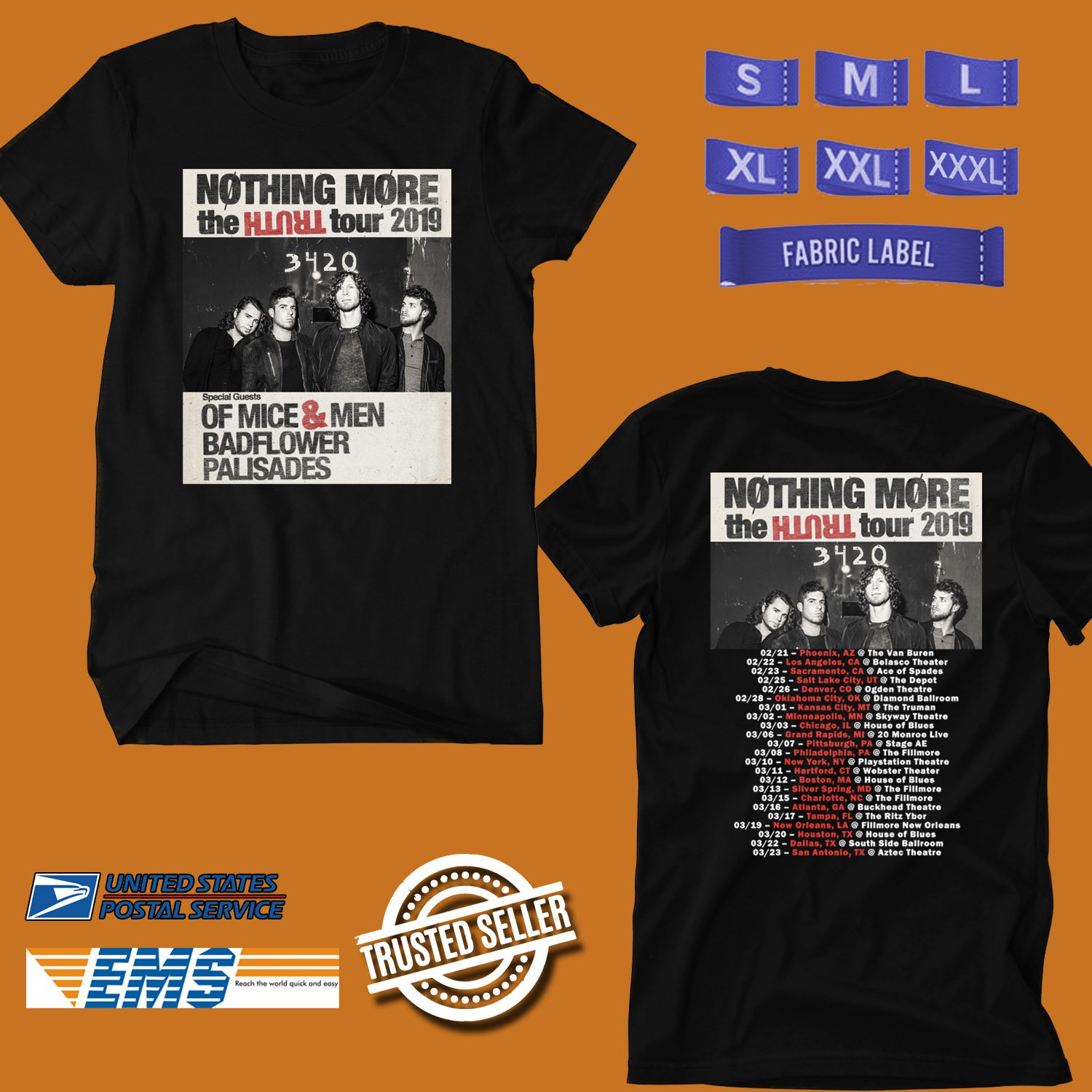 CONCERT 2019 NOTHING MORE THE TRUTH TOUR BLACK TEE DATES CODE EP01
