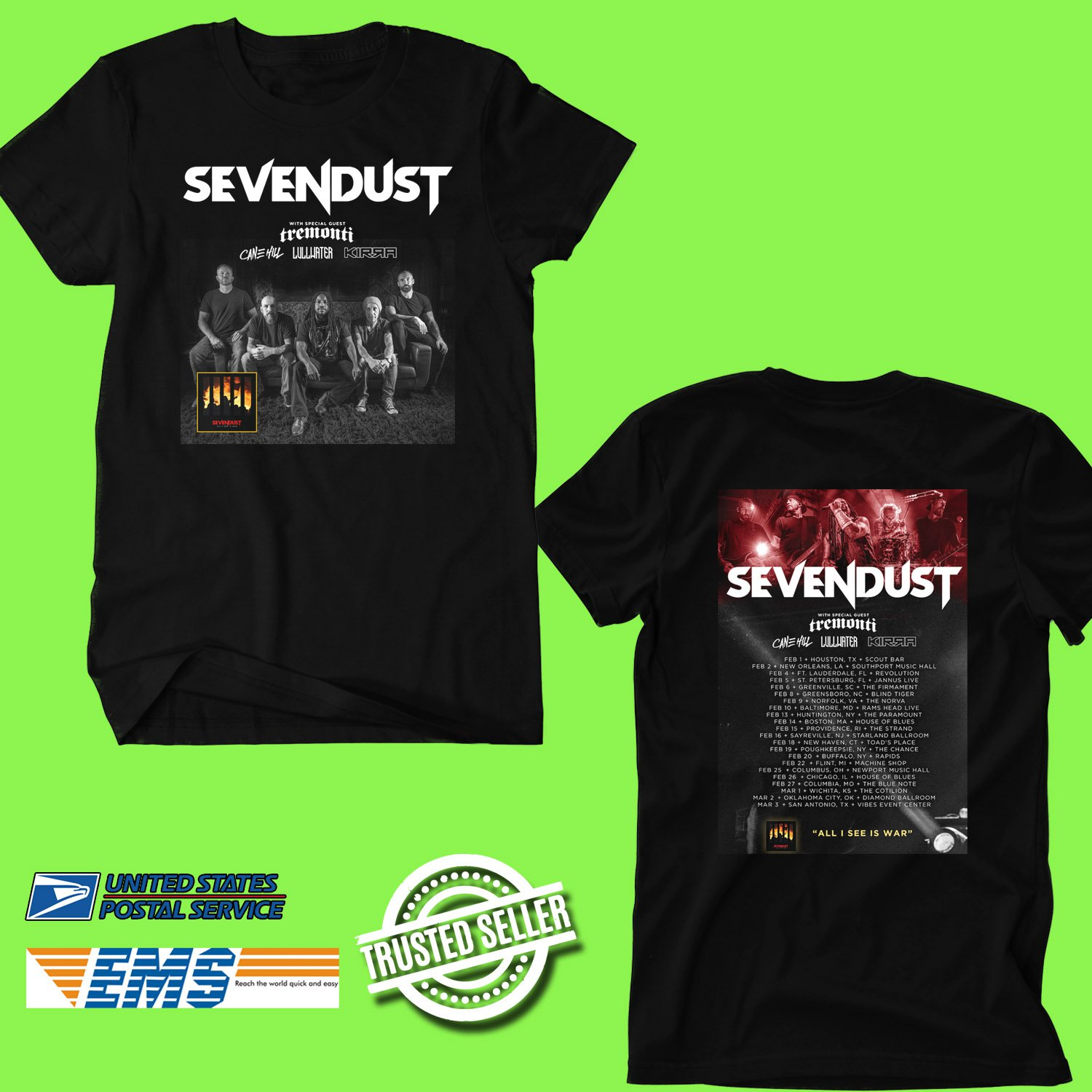 CONCERT 2019 SEVENDUST WITH TREMONTI TOUR BLACK TEE DATES CODE EP01