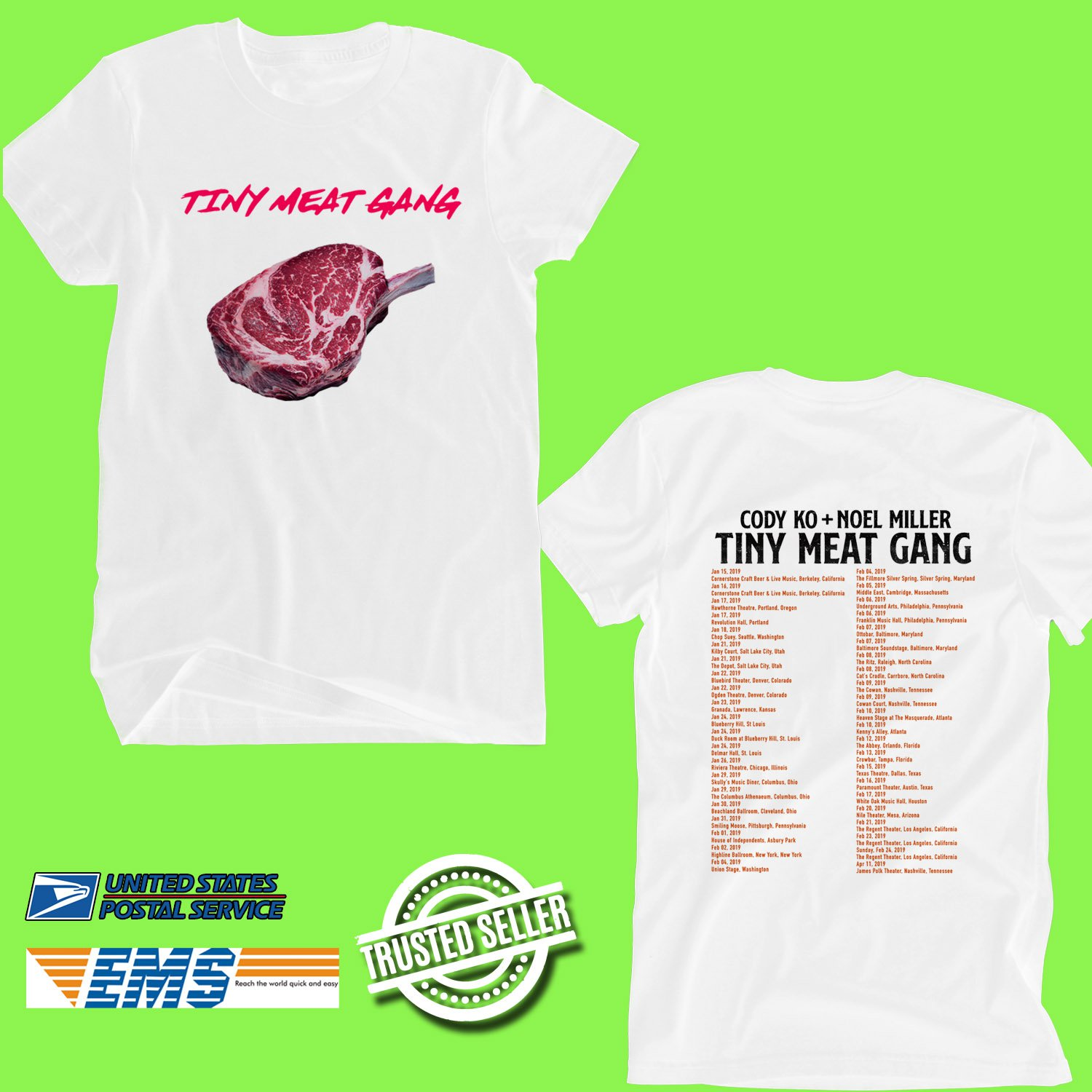 CONCERT 2019 CODY KO&NOEL MILLER TINY MEAT GANG TOUR WHITE TEE DATES CODE EP02