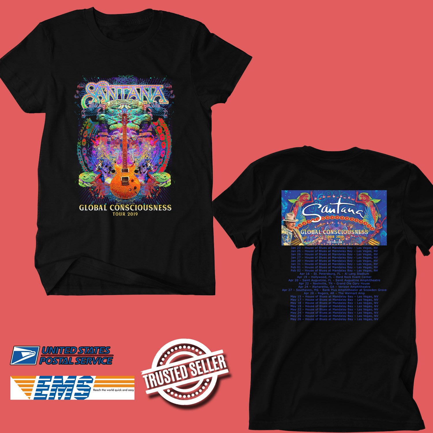CONCERT 2019 SANTANA GLOBAL CONSCIOUSNESS TOUR BLACK TEE DATES CODE EP02