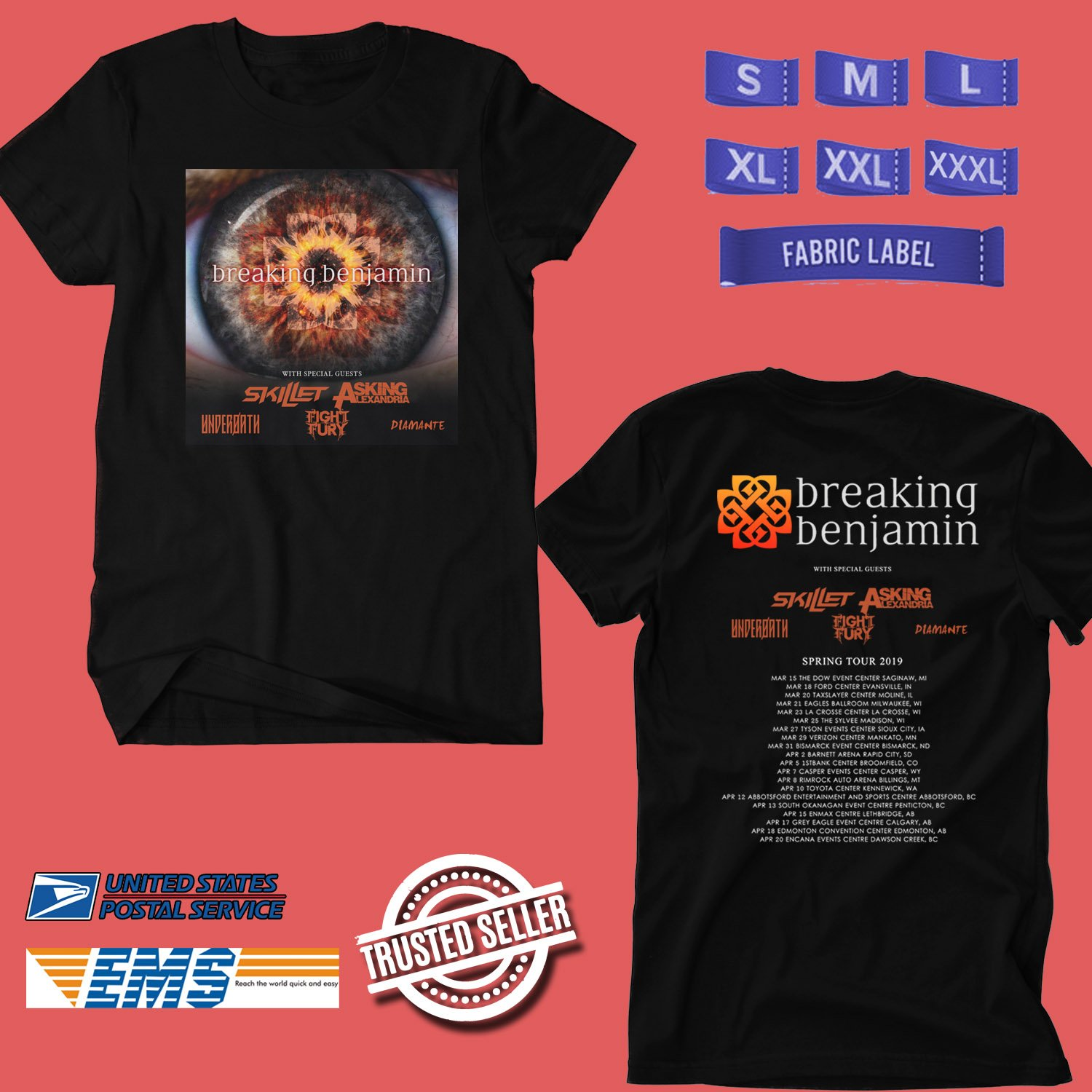 CONCERT 2019 BREAKING BENJAMIN WITH SKILLET TOUR BLACK TEE DATES CODE EP02