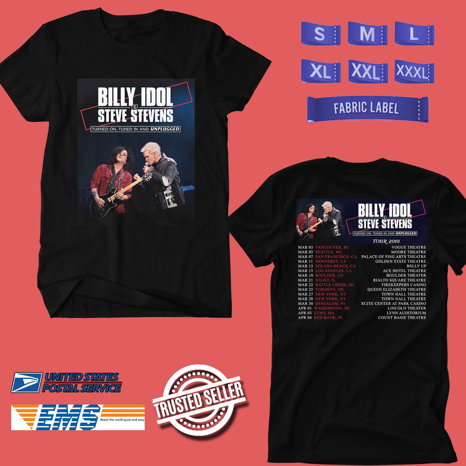 CONCERT 2019 BILLY IDOL AND STEVE STEVENS TURNED ON TUNED IN TOUR BLACK TEE DATES CODE EP03
