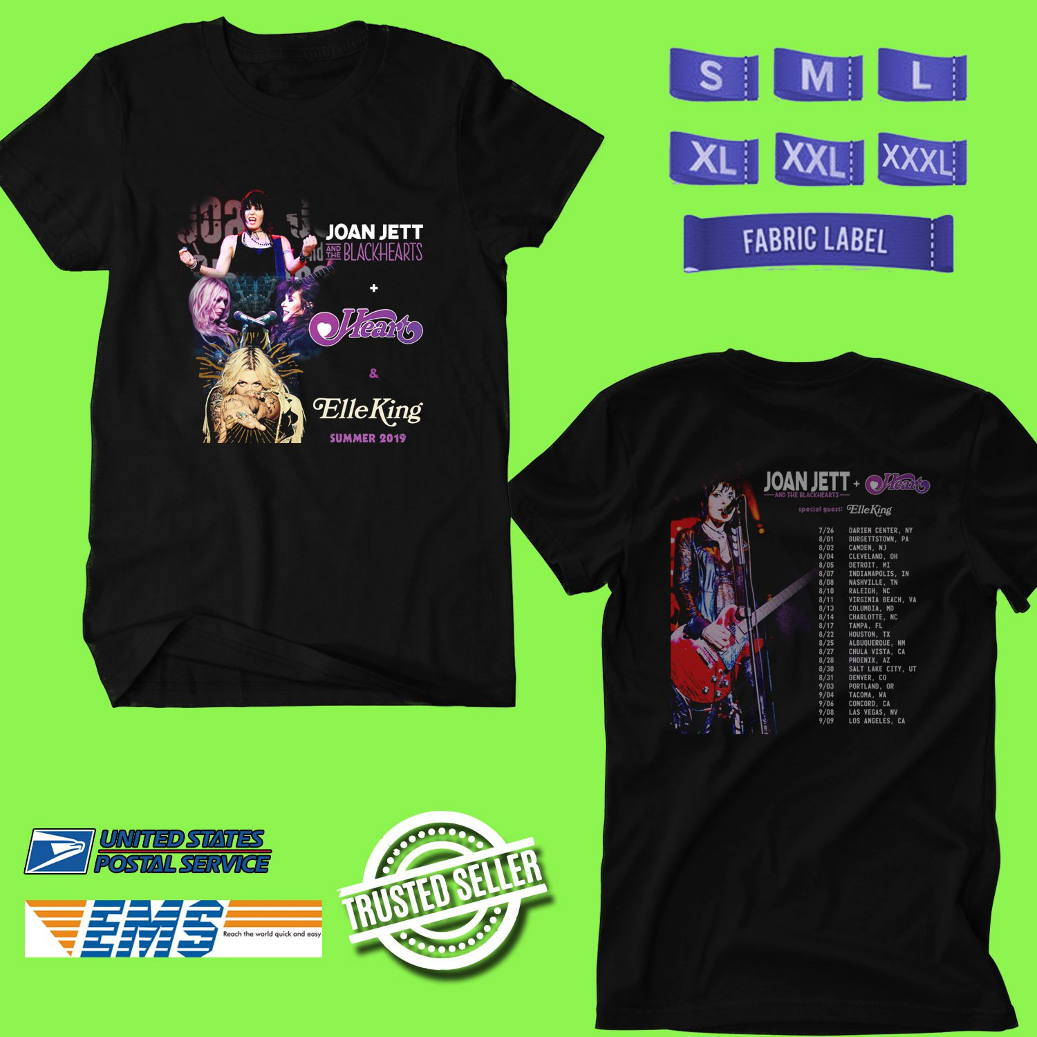 CONCERT 2019 JOAN JETT AND HEART SUMMER TOUR BLACK TEE DATES CODE EP02