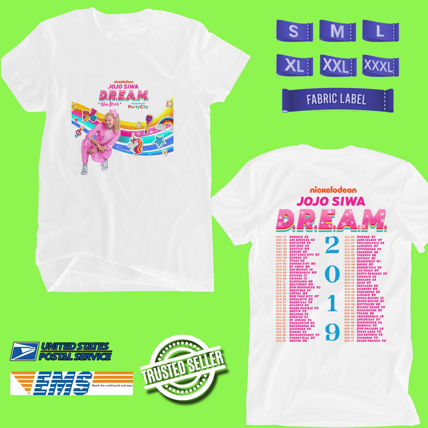 CONCERT 2019 JOJO SIWA DREAM THE TOUR WHITE TEE DATES CODE EP01