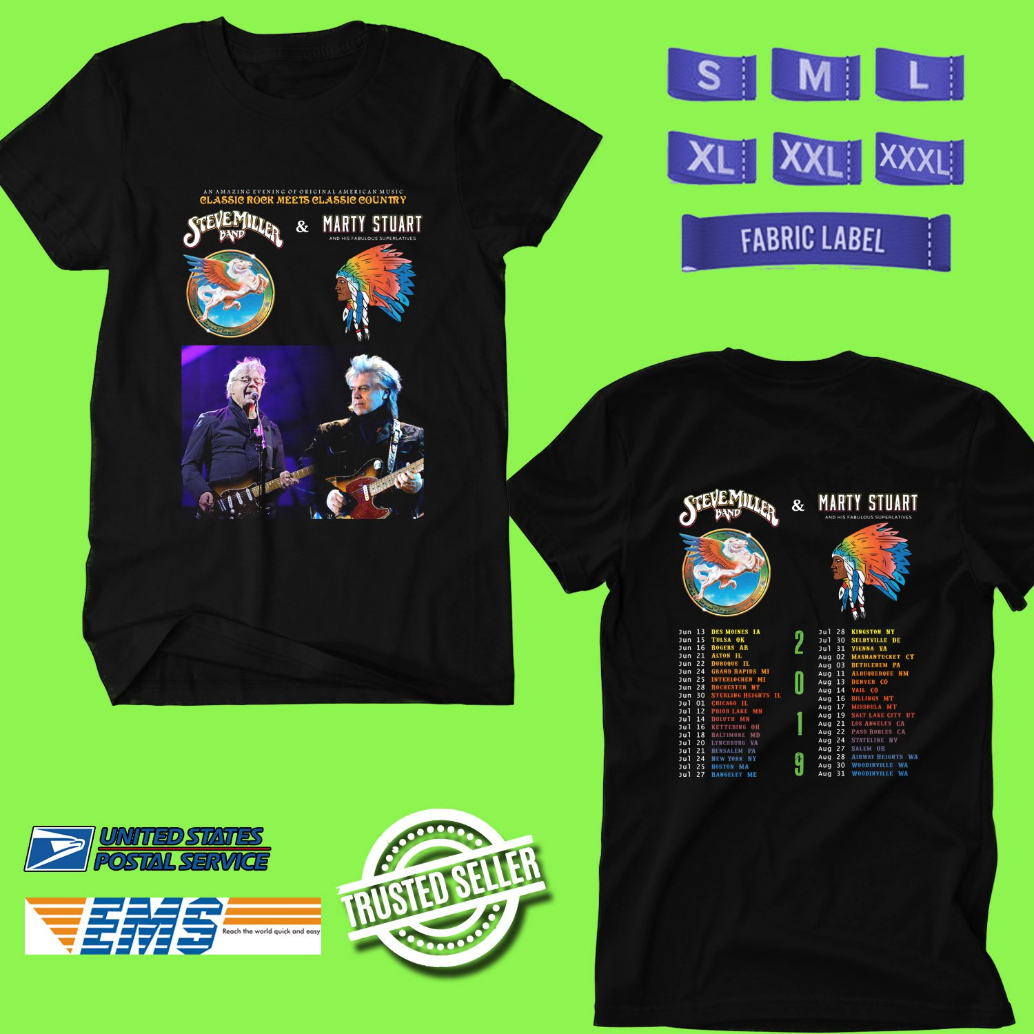 CONCERT 2019 STEVE MILLER BAND AND MARTY STUART SUMMER TOUR BLACK TEE DATES CODE EP01