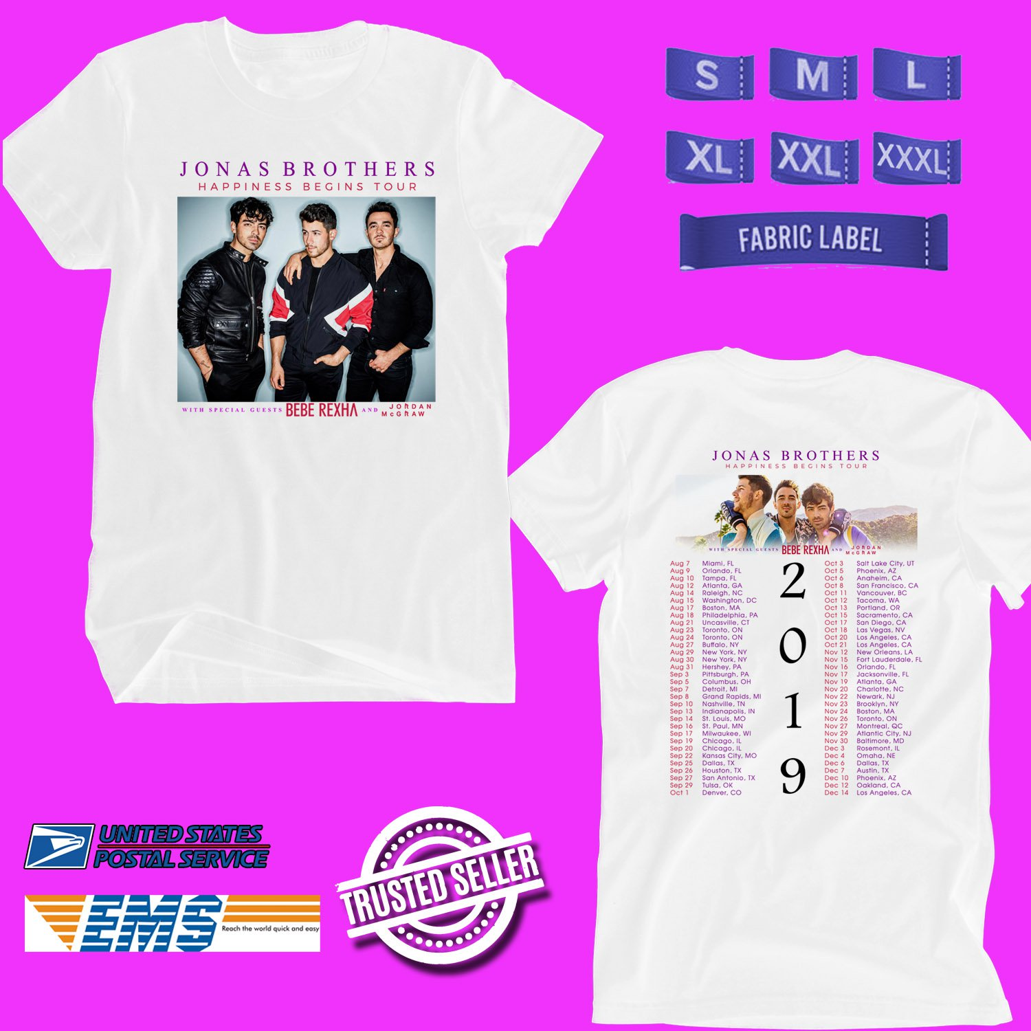 CONCERT 2019 JONAS BROTHERS HAPPINESS BEGINS TOUR WHITE TEE DATES CODE EP01