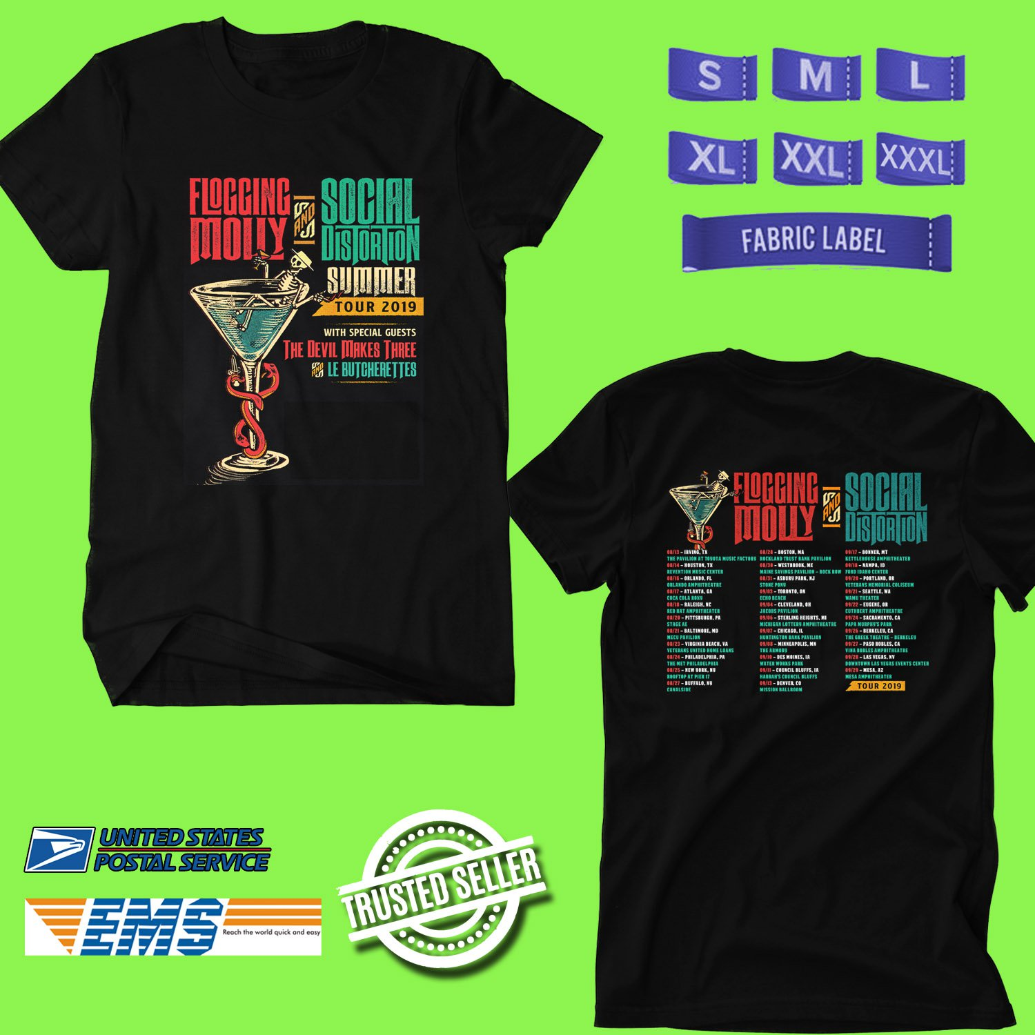 CONCERT 2019 FLOGGING MOLLY AND SOCIAL DISTORTION SUMMER TOUR BLACK TEE DATES CODE EP01