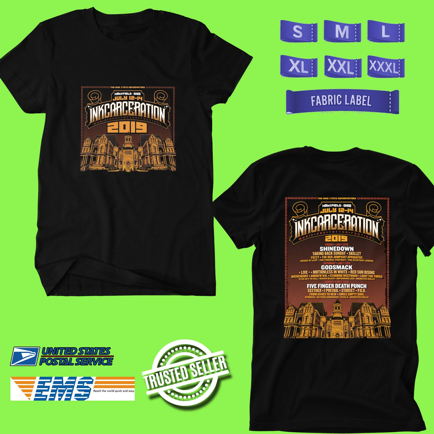 CONCERT 2019 INKCARCERATION FESTIVAL BLACK TEE DATES CODE EP01