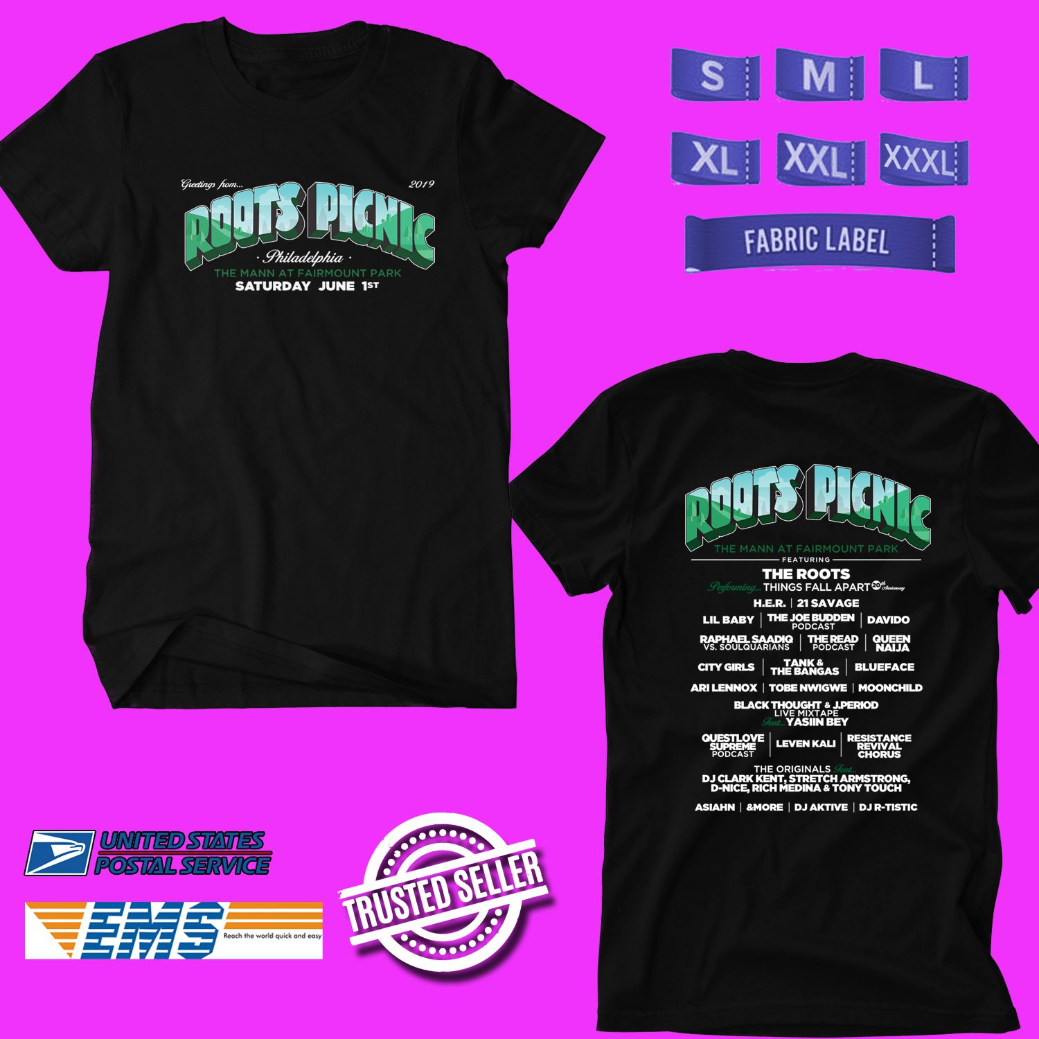 CONCERT 2019 ROOTS PICNIC FESTIVAL BLACK TEE DATES CODE EP02