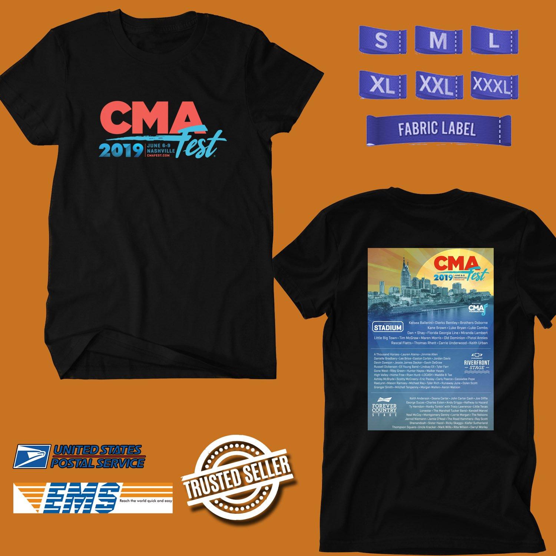 CONCERT 2019 CMA FESTIVAL BLACK TEE DATES CODE EP01