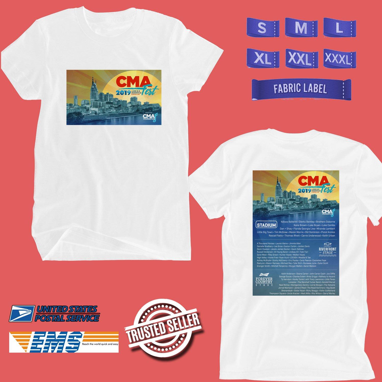 CONCERT 2019 CMA FESTIVAL WHITE TEE DATES CODE EP01
