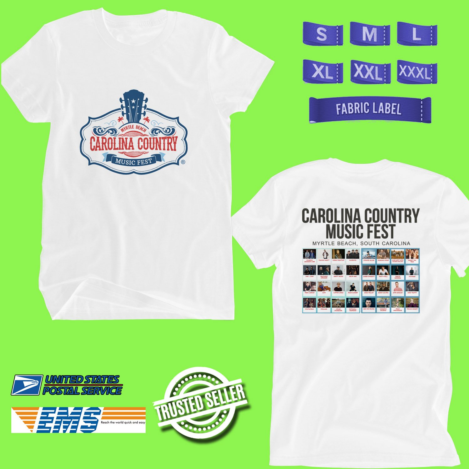 CONCERT 2019 CAROLINA COUNTRY MUSIC FESTIVAL WHITE TEE DATES CODE EP01