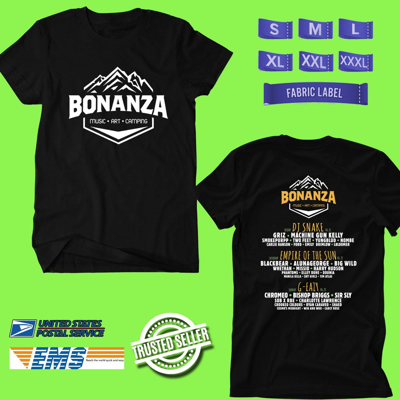 CONCERT 2019 BONANZA CAMPOUT FESTIVAL BLACK TEE DATES CODE EP01