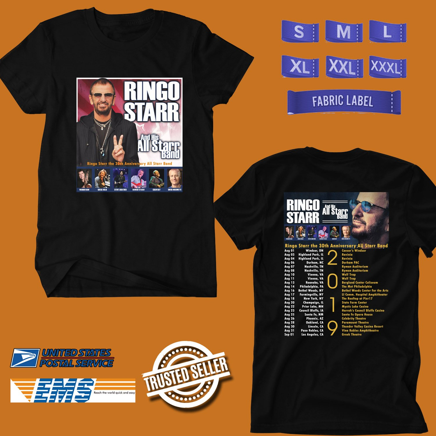 CONCERT 2019 RINGO STARR THE 30TH ANNIV ALL STAR BAND N.AMERICA BLACK TEE DATES CODE EP01