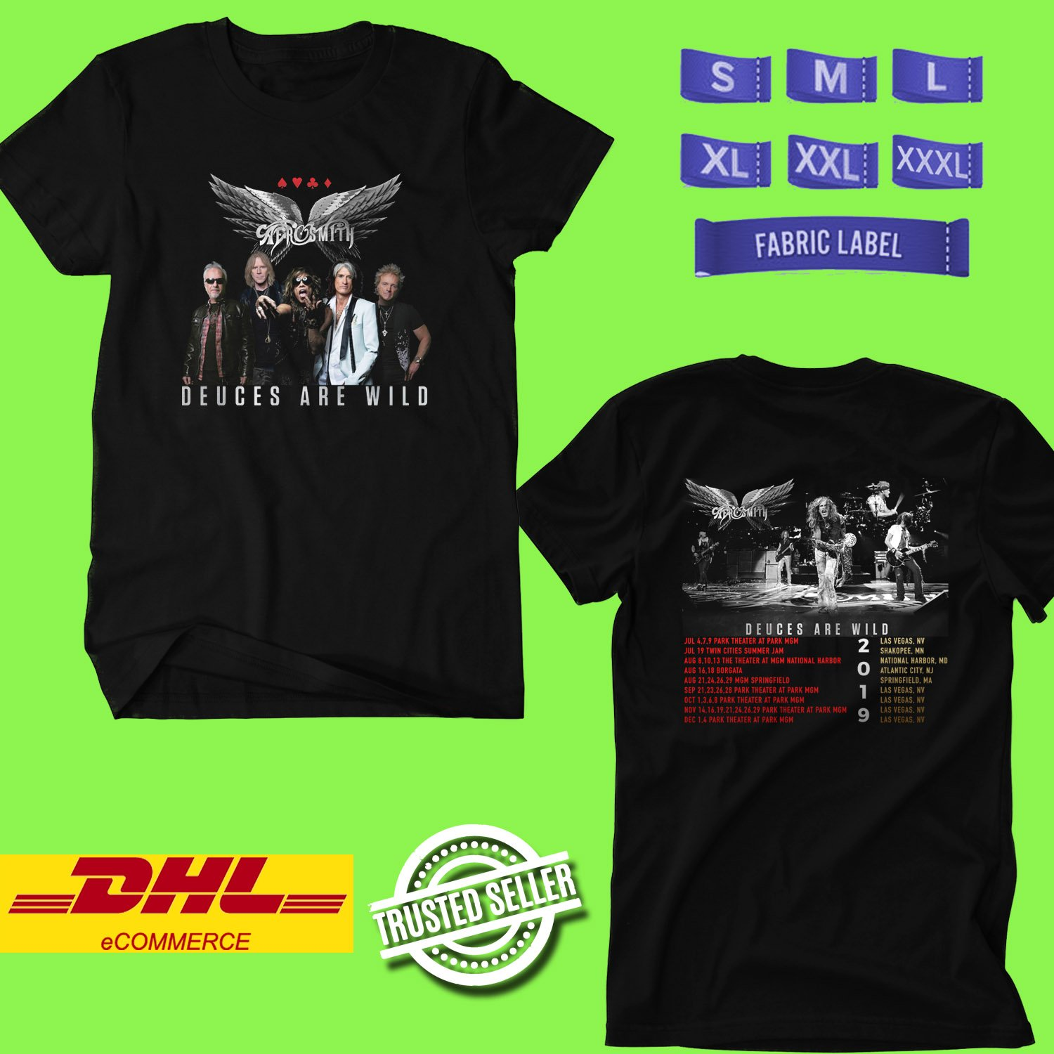 CONCERT 2019 AEROSMITH DEUCES ARE WILD BLACK TEE DATES CODE EP03