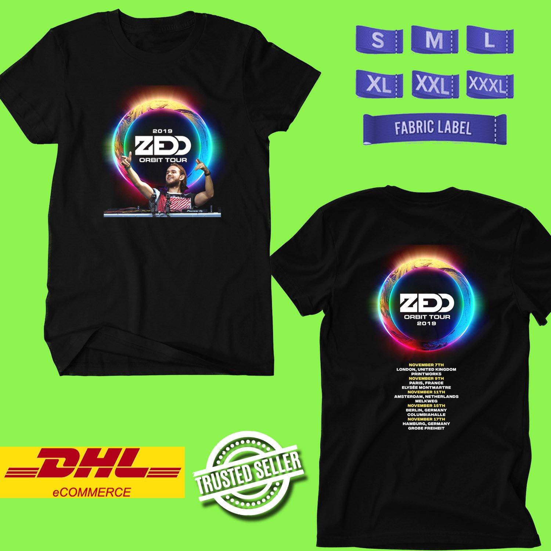 CONCERT 2019 ZEDD ORBIT EUROPE TOUR BLACK TEE LINEUP CODE EP02