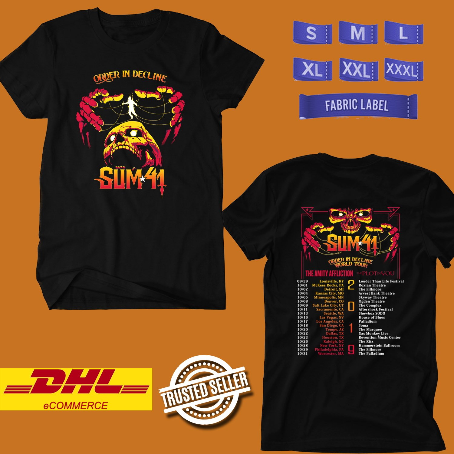 CONCERT 2019 SUM41 DECLINE IN ORDER USA TOUR BLACK TEE LINEUP CODE EP02