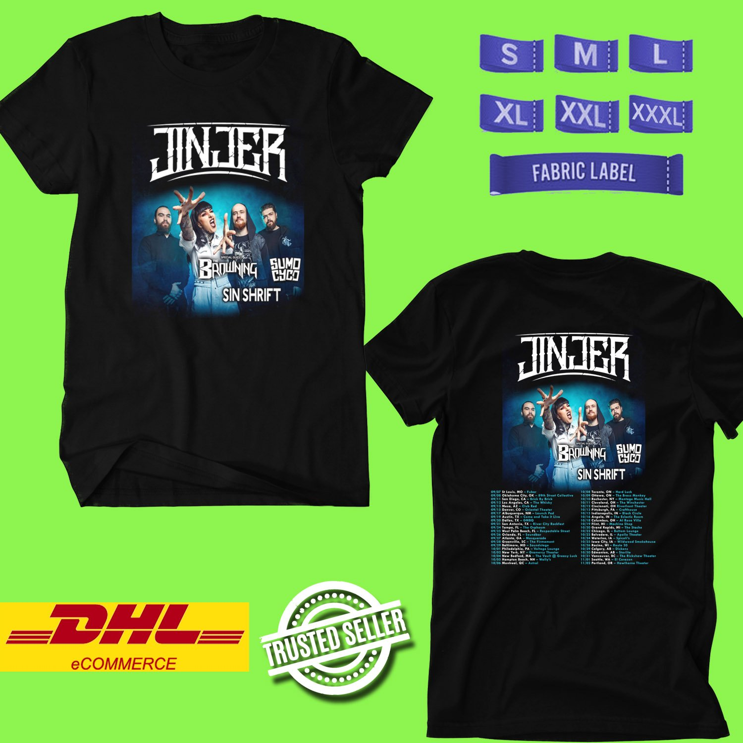 CONCERT 2019 JINJER NORTH AMERICAN FALL TOUR BLACK TEE LINEUP CODE EP01