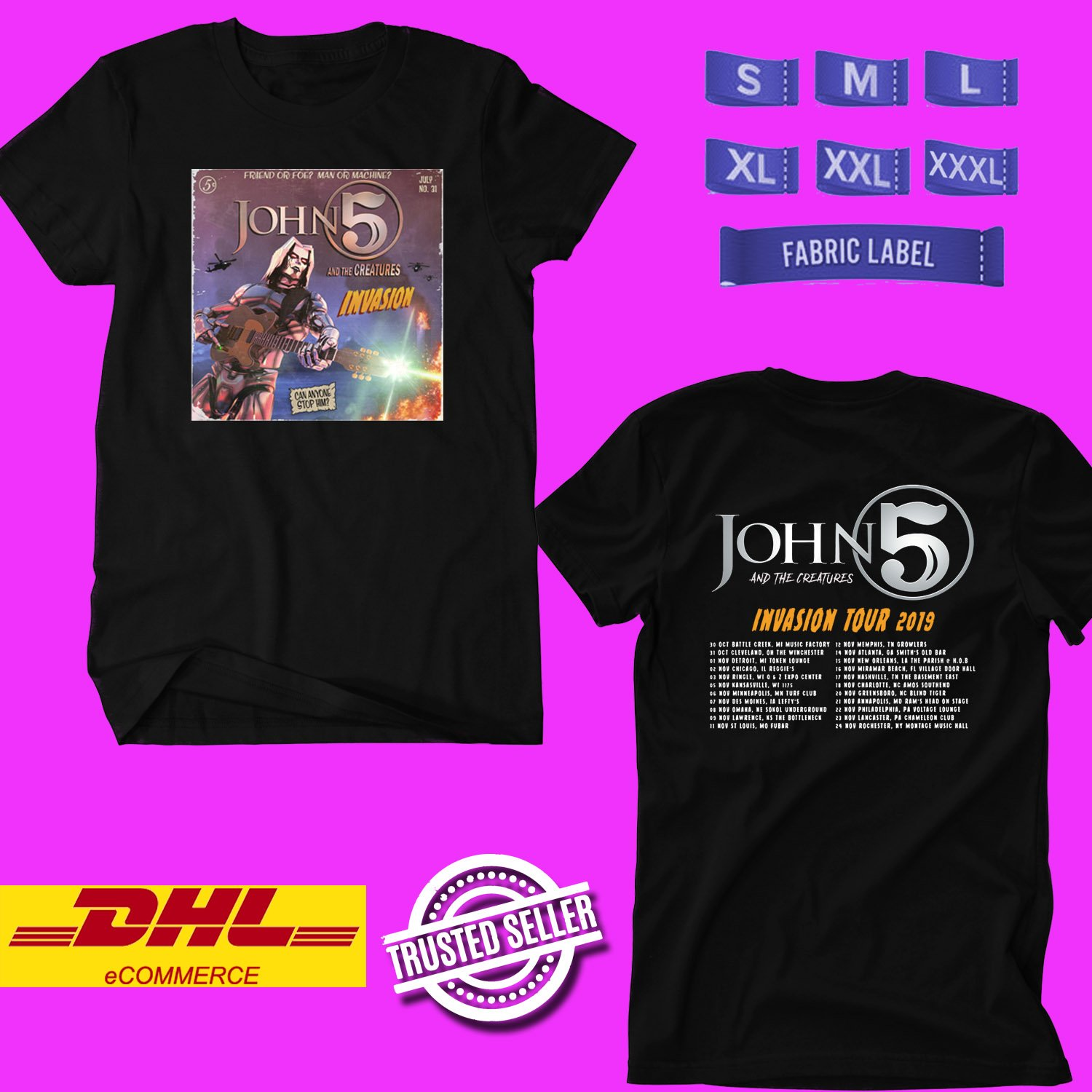 TOUR 2019 JOHN5 AND THE CREATURES INVASION N.AMERICAN BLACK TEE W LINEUP CODE EP02