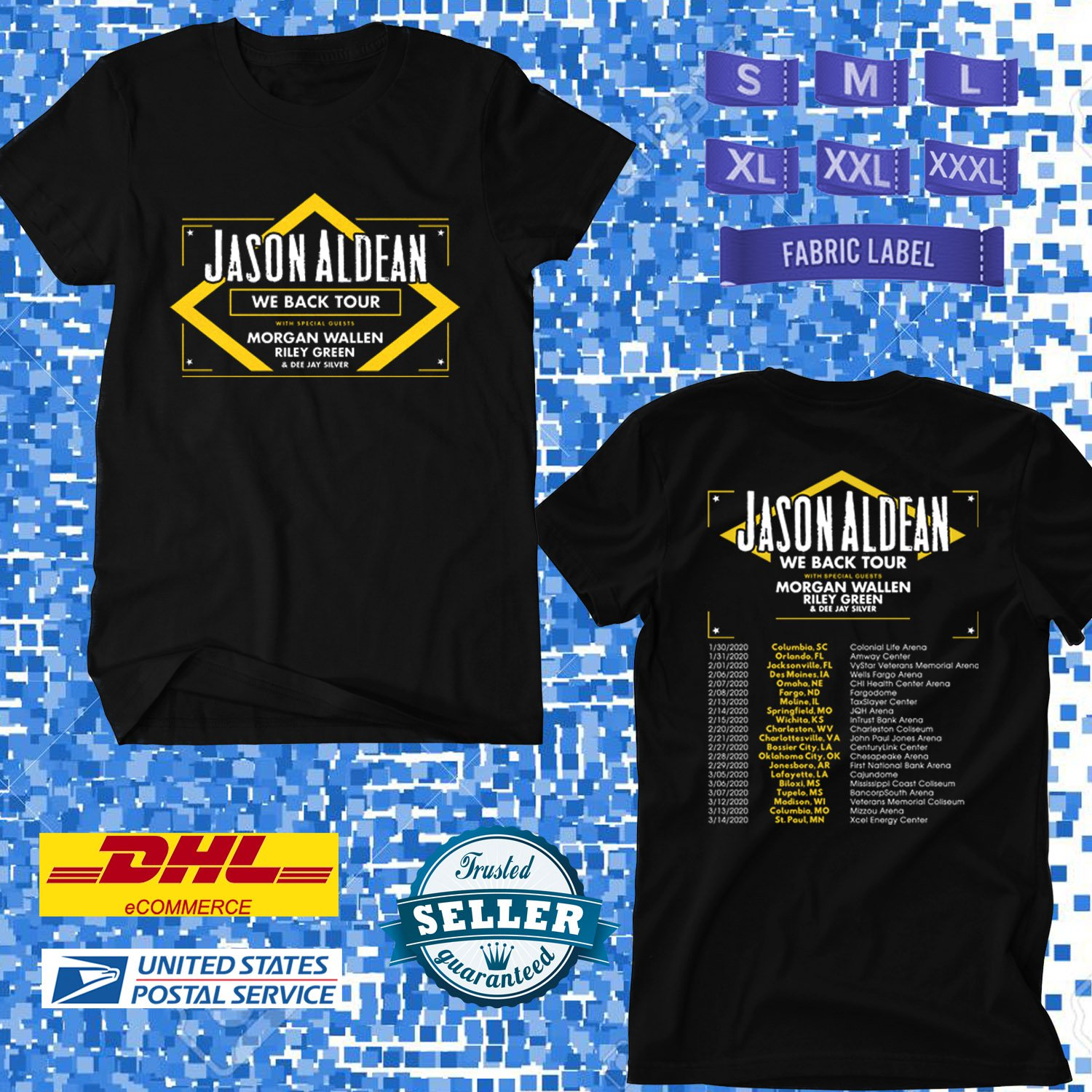 TOUR 2020 JASON ALDEAN WE BACK US TOUR BLACK TEE W DATES CODE EP02