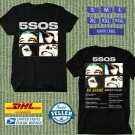 TOUR 2021 5SOS SECONDS OF SUMMER NO SHAME AUSTRALIA TOUR BLACK TEE SHIRT W DATES CODE EP01